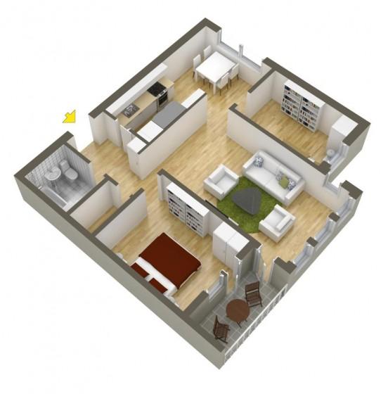 2 planos de apartamentos peque os de dos habitaciones para for Planos de apartamentos pequenos de dos habitaciones