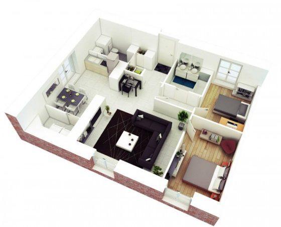 2 planos de apartamentos pequeños de dos habitaciones para inspirarte